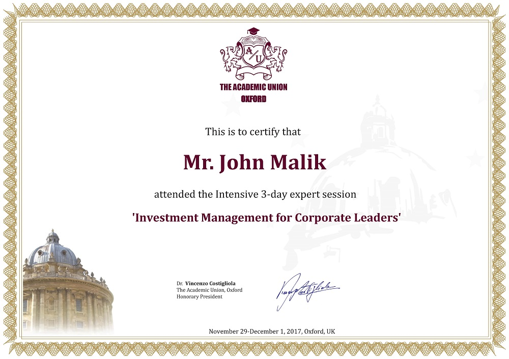 Certificate of Attendance Investment for CEO