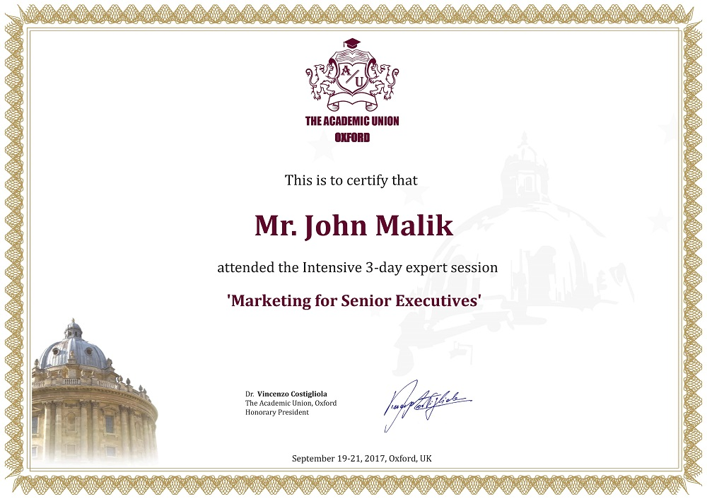 Certificate of Attendance Marketing
